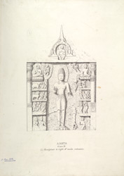 Ajanta: Cave IV. Sculpture to right of main entrance